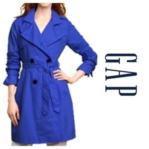 "Blue Trench coat by Gap. Size small. 34"" long"